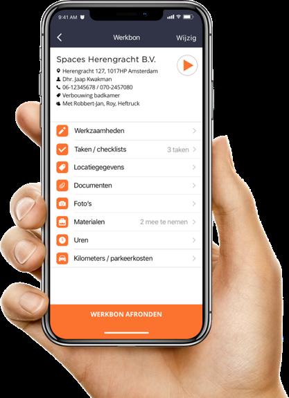 Een foto van de digitale werkbon app